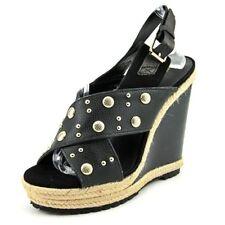NWOB REBECCA MINKOFF Kimiko Stud Women Leather Black Wedge Sandal Sz 9M