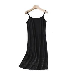 Women Lace Splice Dress Petticoat Underdress Nightdress Modal Strappy Slips