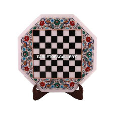 """15"""" Marble Chess Coffee Table Top Peacock Floral Inlay Play Furniture Gifts M077"""