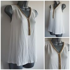 Size 12 Top GEORGE White Gold Beads Casual Stretchy Women's Ladies Vest