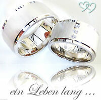 2 Trauringe Silber 925 mit Gravur + Etui Eheringe Verlobungsringe Partner Ringe