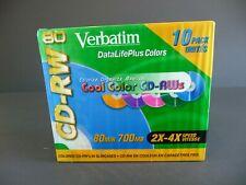 Verbatim CD-RW DataLifePlus Colors 10 Pack BRAND NEW Factory Sealed