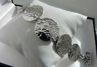✨CLASSY, PRISTINE✨ 41g sterling silver 925 fully HM hammered disc bracelet