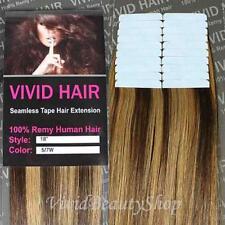 "20pcs 18"" Seamless Tape Skin Weft Human Hair Extensions Brown Dark Blonde #5/7W"