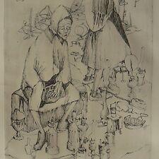 """""""marché aux puces"""" gravure expressionniste originale 48 cm x 32,5 cm"""