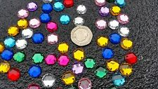 60 Assorted Faceted Beads Acrylic Rhinestones Gems 12 mm Round Flat Back Sew On