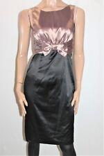 George Designer Mocha Black Satin Kata Dress Size 8 BNWT #Ti47