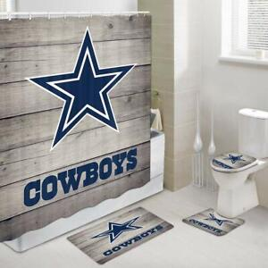 Rustic Dallas Cowboy Shower Curtain Set Bathroom Toilet Pad Cover Bath Mat