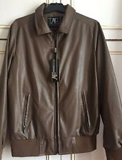 Men Designer Brown Leather Jacket Size Medium AC Made in Italy