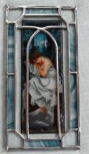Schönes Fensterbild Bleiverglasung Glasmalerei Elfe Jugendstilmotiv 29 x 15 cm