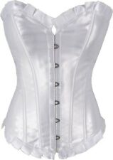 Ladies Corset Top Frill Overbust Long Satin Vintage Inspired Plus Size 6 to 26