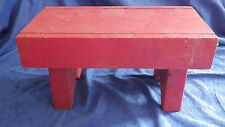 """Primitive Red Handmade Wood Wooden Painted Stool 7""""x13.5"""" & 7.5"""" Tall"""