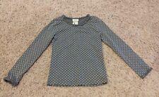 Matilda Jane Girls Shirt Size 6 gray with pokadots