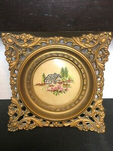 Vintage Cameo Creation Square Frame Embroidered Cottage Trees Floral Scene