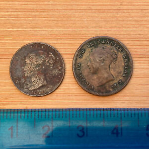 Scarce but low grade Victoria 1844 One Third Farthing+1843 1/2 Farthing (ref#40)