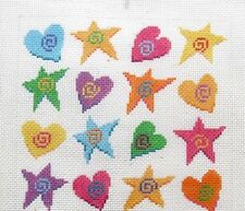 Susan Roberts / Cook Crazy Hearts & Stars Handpainted Needlepoint Canvas