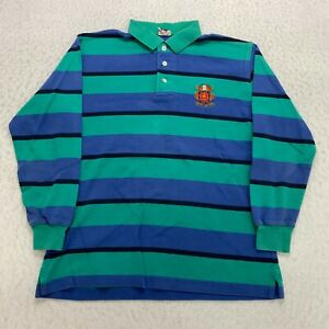 Vintage Brooks Brothers Striped Rugby Long Sleeve Polo Shirt Size M Embroidered