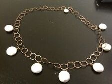 Rose Gold Circles and Freshwater Pearls Necklace GORGEOUS