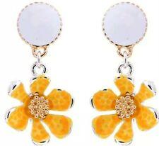 Dangle Earrings Women Fashion Jewel Betsey Johnson Rare Rhinestone Yellow Flower