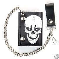 Biker Chain Wallet White Skull Black Leather Trifold Mens Trucker USA Made