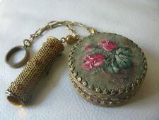 Antique Victorian Gold Filigree Amber Jewel Tango Lipstick Petit Point Compact