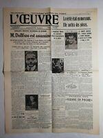 N1090 La Une Du Journal L'œuvre 26 juillet 1934 monsieur Dollfuss est assassiné