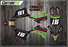 KAWASAKI KX85 KX100 MOTOCROSS GRAPHICS KIT WITH NUMBER BACKGROUNDS