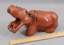 Original 1946 BECKER Handmade Terracotta Pottery HIPPO HIPPOPOTAMUS Sculpture