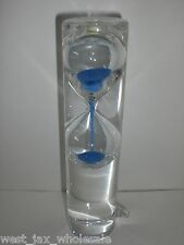 Floating Hourglass Clear Glass Blue Water Sand Timer Desk Kitchen Decor Gift New