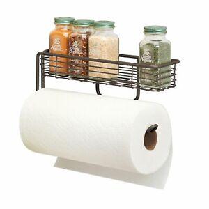 mDesign Wall Mount Metal Paper Towel Holder with Storage Shelf - Bronze