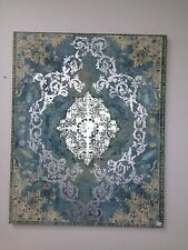 canvas AQUA SILVER TAUPE print 80 x 100 French baroque provincial stunning