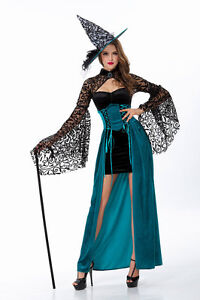 New Womens Sexy Witch Black & Blue Halloween Costume Fancy Party Dress ladcos19