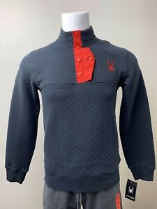 Spyder | Men's Frontier Quilted L/S Pullover | Black | Small | NWT $149