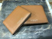 Michael Kors Mens Russel Passcase / ID Billfold Wallet Luggage Pebbled Msrp $138