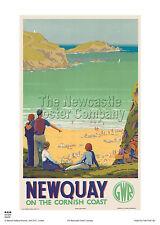 Cartel De Surf Cornwall Newquay junto Publicidad Vintage Retro de viaje de vacaciones de ferrocarril