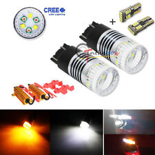 Switchback 30W CREE LED Kit For 2015-up Ford Mustang Turn Signal + Parking Bulbs