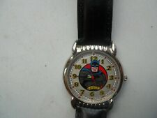 New Batman Black Leather Fossil Watch.Quartz Battery W- Resistant Watch.Li-1034.