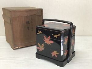 Y2507 BOX Lacquered autumn leaves Makie lacquer Japanese antique Japan vintage