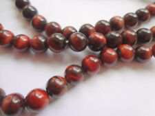 6mm Natural Red Tiger Eye Round Semi Precious Gemstone Beads - Half Strand