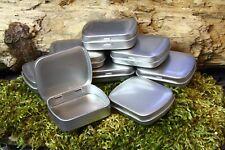 HINGED METAL TIN Small, Rectangular Silver, Empty - 20ml. 60mm Diam. x 47mm High