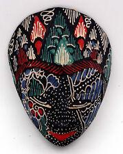 Art Indonésien masque Javanais traditionnel en bois et batik bleu