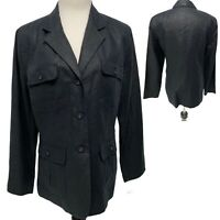 Merona Black Blazer Jacket Lined 4 Pockets Women's Size L