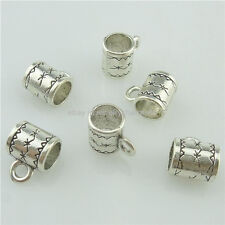 15382 50PCS Alloy Antique Silver Vintage 8mm Spacer Tube Bead Loop Bail Beads