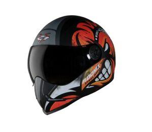 Adonis Angry Bird Mat Black & Orange Full Face Helmet Smoke Visor L 600mm ECs