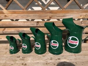 FULL Set of 5 Castrol Pourers 1 Gallon down to 1/2 pint cans tins