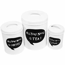 Set of 3 Kitchen Tea Coffee & Sugar Black & White Metal Storage Canisters 25212