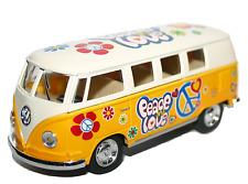 Volkswagen 1962 Camper Samba Bus Hippy Flower Power Design Opening Door Yellow
