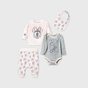Baby Girls' 4pk Minnie Mouse Fleece Long Sleeve Top Bottom Set Pink 0-3 Months
