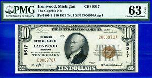 POP 2/1 CH # 9517 - 1929 $10 (( Near FINEST Known - Ironwood, MI )) PMG 63EPQ