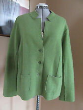 EILEEN FISHER Green Merino Wool Comb Cardigan Blazer Jacket 3-Buttons Size Large
